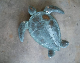 Sea Turtle Metal wall sculpture 20in x 20in Tropical  Coastal Beach Ocean