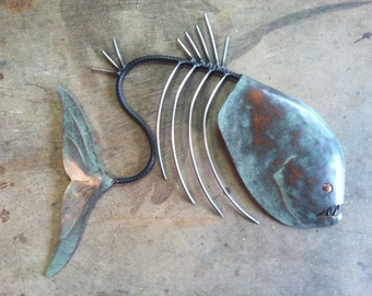 Fish Sculpture Handmade 20in Tropical  Beach  Coastal Decor Metal  Wall Art
