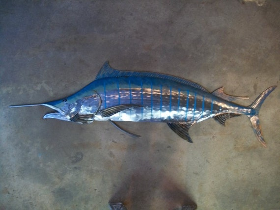 Blue marlin metal fish wall sculpture beach coastal tropical for Fish metal wall art