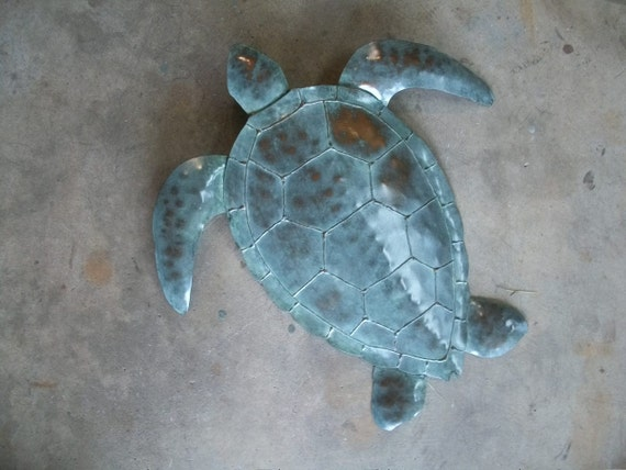 Sea Turtle Metal wall sculpture Tropical  Coastal Beach Ocean