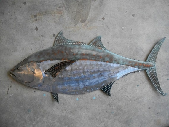 Blue Fin Tuna Fish Metal Sculpture Tropical Beach Coastal Wall Art
