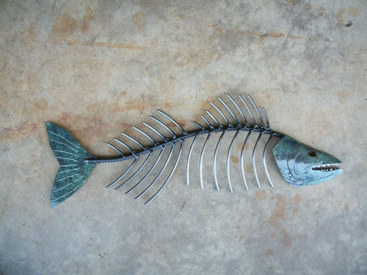 Walleye bone metal fish wall sculpture for Metal fish art wall decor