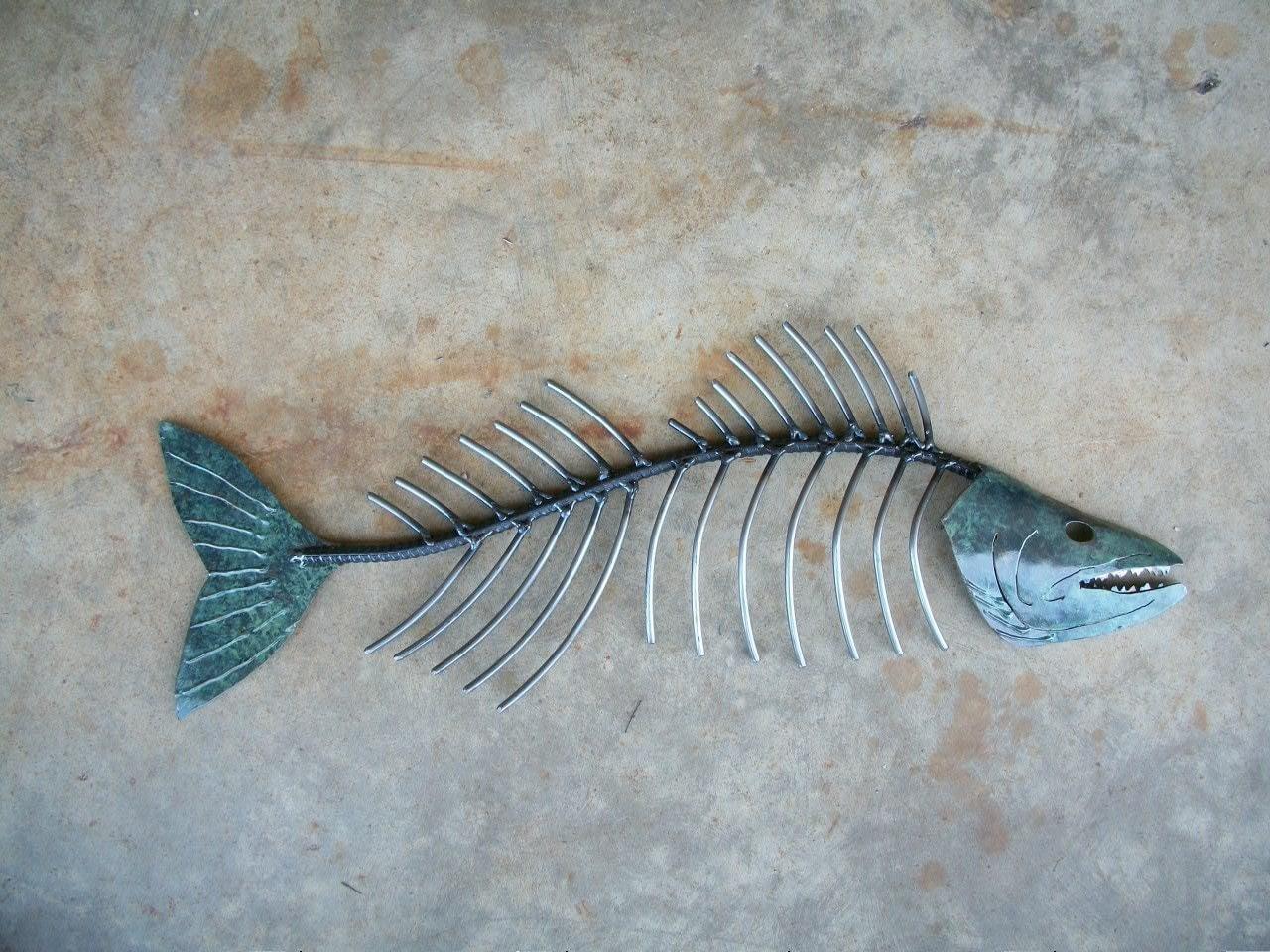 Walleye bone metal fish wall sculpture for Fish wall art