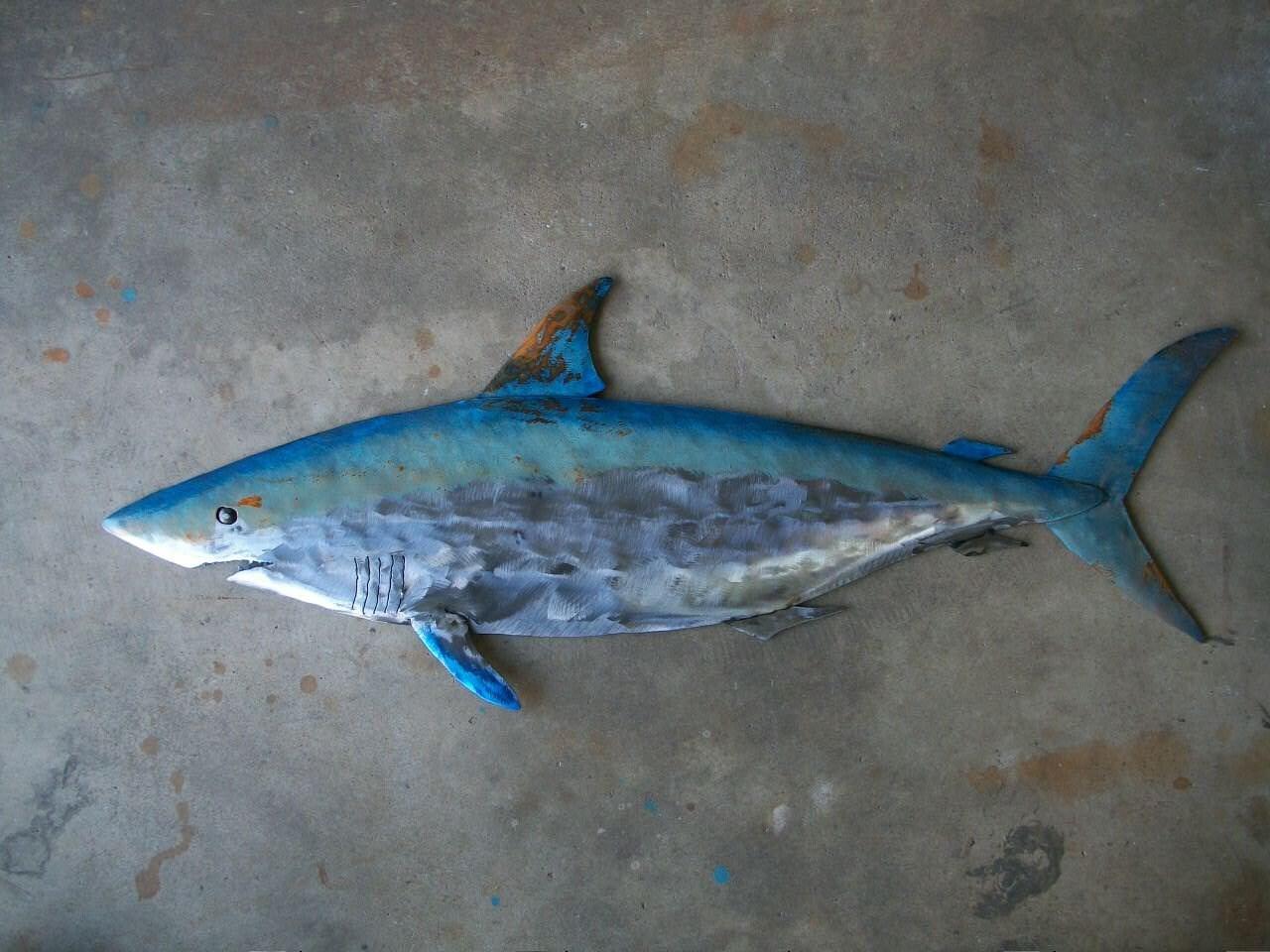 Shark metal fish wall sculpture beach coastal tropical for Metal fish art
