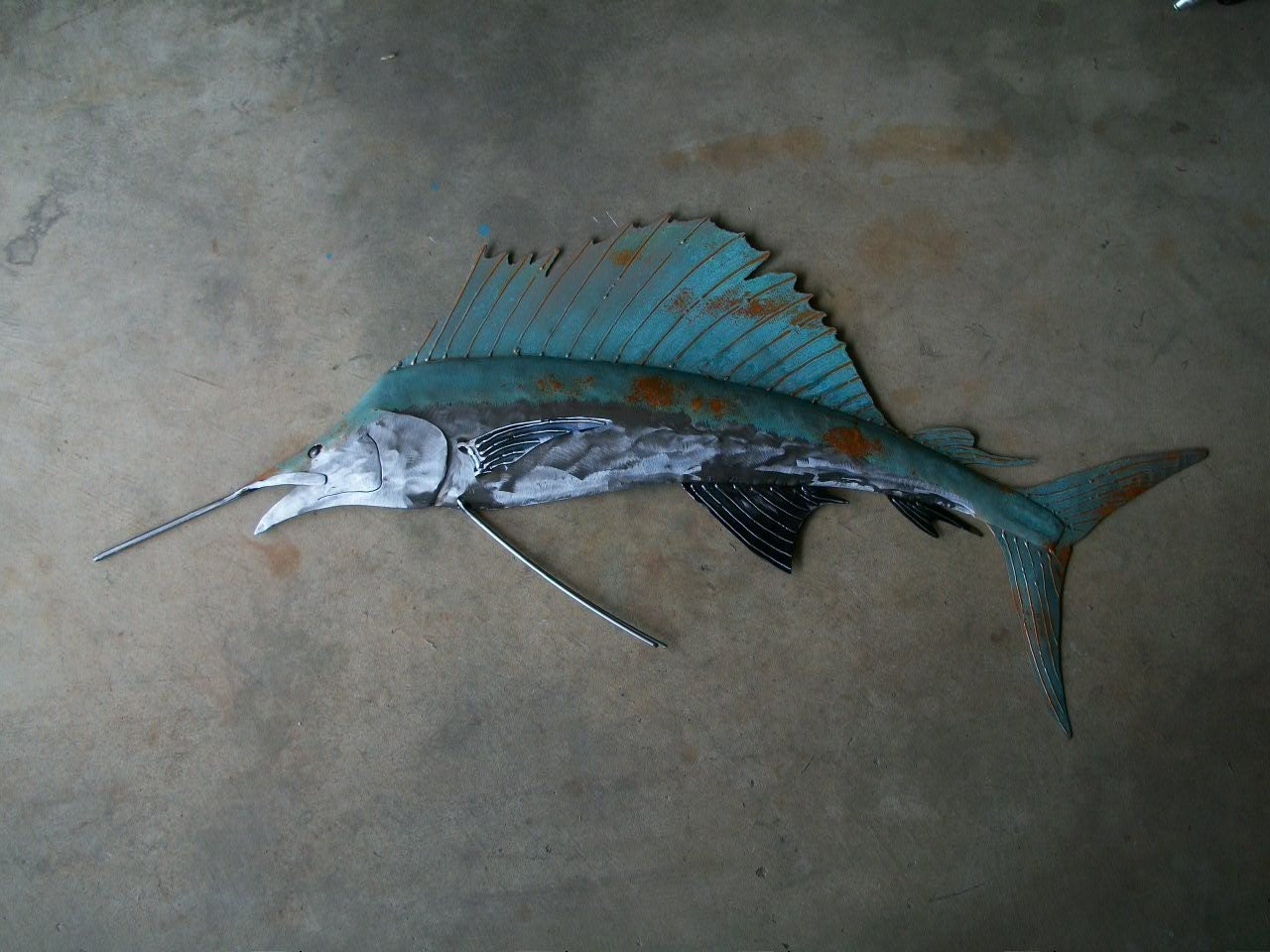 Sailfish metal wall art fish sculpture beach coastal tropical for Metal fish art wall decor