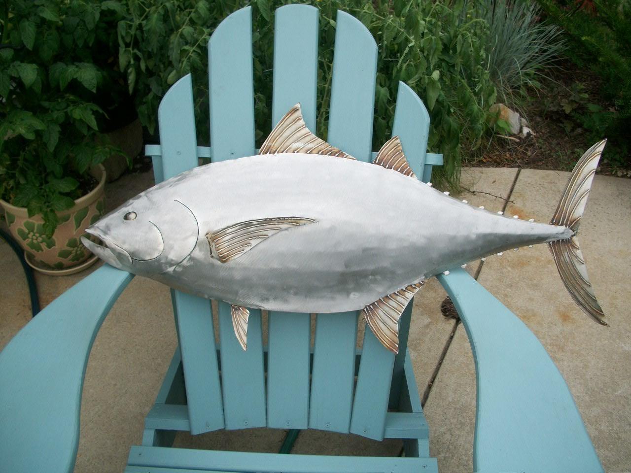 Tuna fish metal sculpture coastal tropical beach wall art for Metal fish art