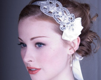 Crystal Rhinestone Headband And Ivory Silk Ribbon