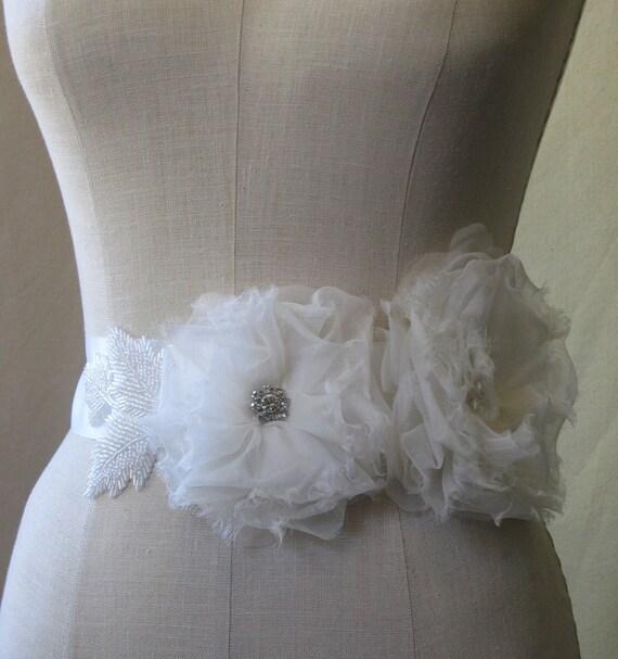 Ivory Silk Flower With Pearls And Rhinestones Satin Ribbon Sash Belt