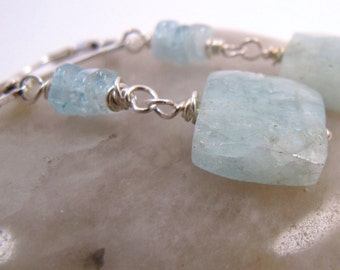 Natural Aquamarine and Silver Earrings