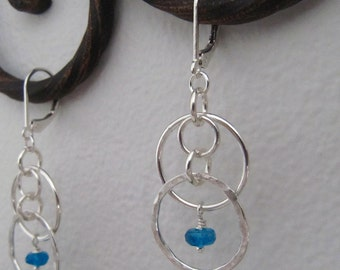 Hammered Silver Circles with Apatite