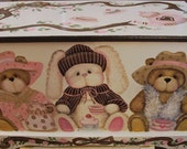 Teddy Bear and Bunny Tea Party Toy Box can be done with Monogram or Name, kids furniture, art and decor, wooden toy box