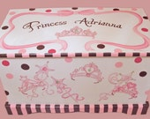 Princess Tiara Toy Chest with Polka Dots Custom Designed
