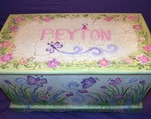 RESERVED LISTING Custom Designed White Butterfly Garden shabby chic Toy Chest