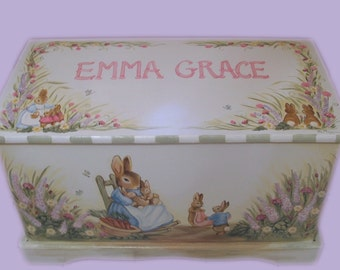 Custom Designed  Bunny Rabbit Toy Box inspired by Peter Rabbit, kids furniture, wooden toy box, hand made and hand painted