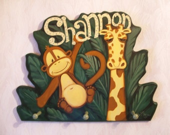 Personalized Custom Jungle wall hanging coat rack