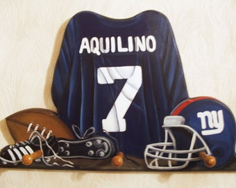 Custom Football Jersey wall hanging with 3 pegs