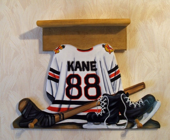 Custom HOCKEY JERSEY Wall Hanging with Shelf and 3 Pegs