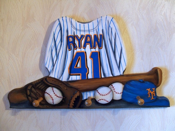 custom baseball jersey wall hanging with by originalsbybarbmazur. Black Bedroom Furniture Sets. Home Design Ideas