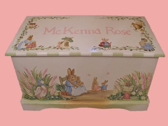 Custom Designed Bunny Rabbit  Toy box inspired by Peter Rabbit done with Monogram or Name, kids furniture, art and decor, wooden toy box