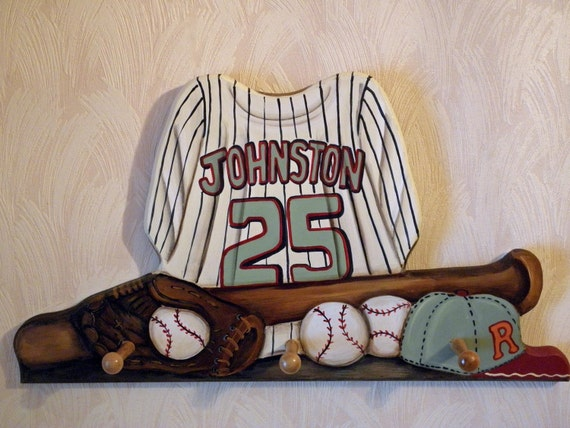 Baseball Jersey custom wall hanging with 4 pegs