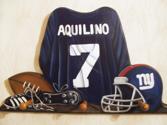 custom football jersey wall hanging with 3 pegs. Black Bedroom Furniture Sets. Home Design Ideas