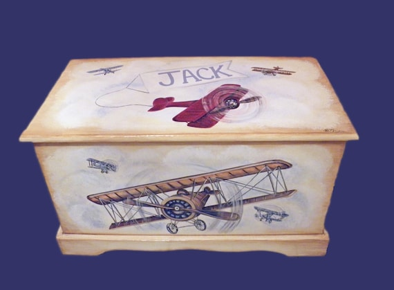 Vintage Airplane Toy Chest Custom Designed, kids room decor, personalized, art and decor, wooden toy box, hand made, hand painted