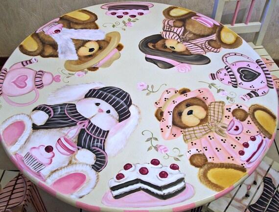 Custom Teddy Bear and Bunny Tea party Table and Chair Set
