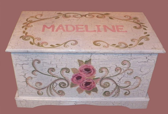 Custom Designed White SHABBY CHIC Toy Chest done with Monogram or Name, kids furniture, art and decor, wooden toy box