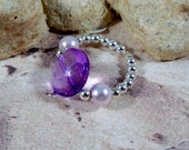 Womens Cocktail Stretchy Ring Purple