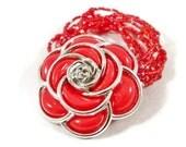 Large Red Flower Bracelet Womens Stretch Multi Strand OOAK