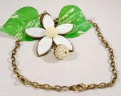 Ladies White and Bronze Flower Pendant Necklace Chain OOAK