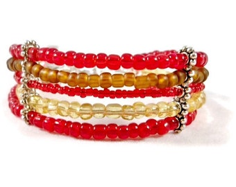 Red and Brown Multi Strand Bracelet , Cuff Bracelet, Women's Beaded Bracelet, Red and Brown Bracelet, Gifts for Her