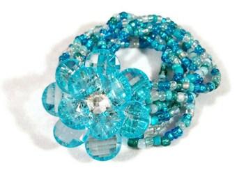ON SALE  Blue Stretch Bracelet, Glass Beaded Flower Bracelet, Large Flower Bracelet, Womens Bracelet