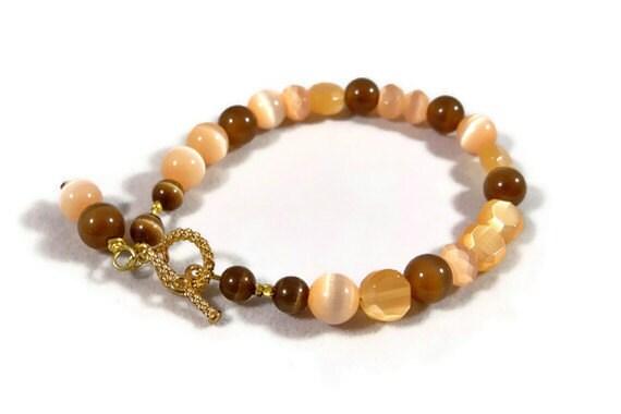 Cat Eye Brown and Beige Womens Beaded Bracelet