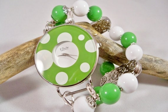 Womens Watch Polka Dot Watch Wrist Green and White Interchangeable Watchband