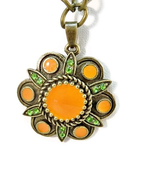 Necklace Orange, Peridot and Bronze Vintage Looking