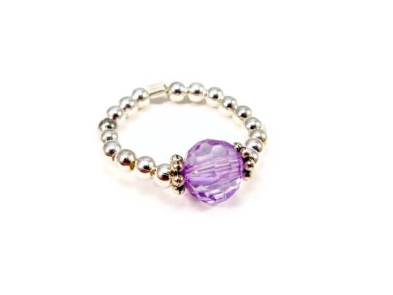 Purple Stretch Ring Glass Crystal