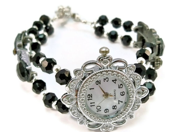 Beaded Watch Black, Silver and Crystal Double Strand OOAK