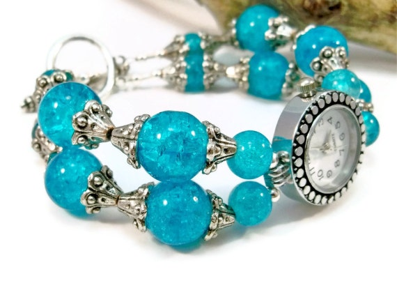 OOAK Womens Beaded Watch Aqua Blue Cracked Glass Beads Double Strand