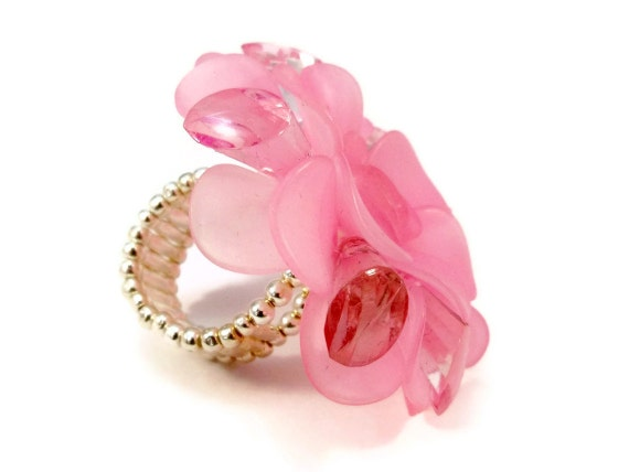 Large Cocktail Ring Pink Flower Stretchy Band Womens