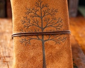 Leather Journal - The Autumn Tree - Rustic Travel Journal - wayfaringart