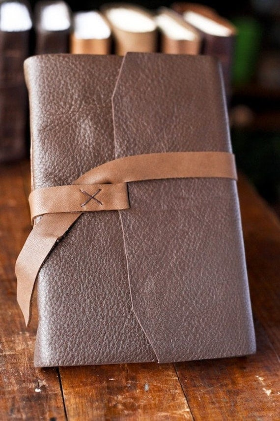 Large Two-Tone Leather Travel Journal