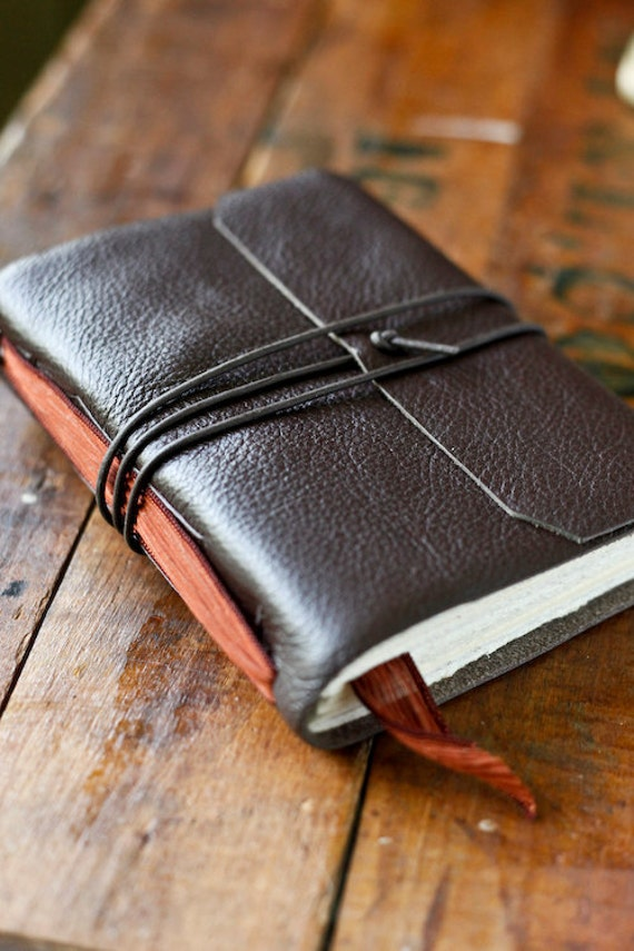 Reserved for jannden - Leather Journal with Hand Dyed Silk Ribbon Bookmark