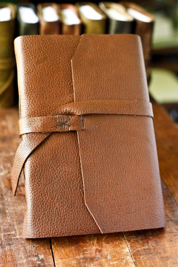 Large Leather Travel Journal - Brown Rustic Leather Journal