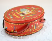 Vintage Red Tin Oval Box