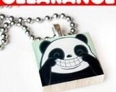 LAST ONE - CLEARANCE Smile Panda Scrabble Tile Necklace