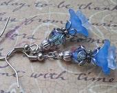 Petite Ocean, Sky Blue Lucite Petunia Flowers, Czech Glass Crystal Earrings