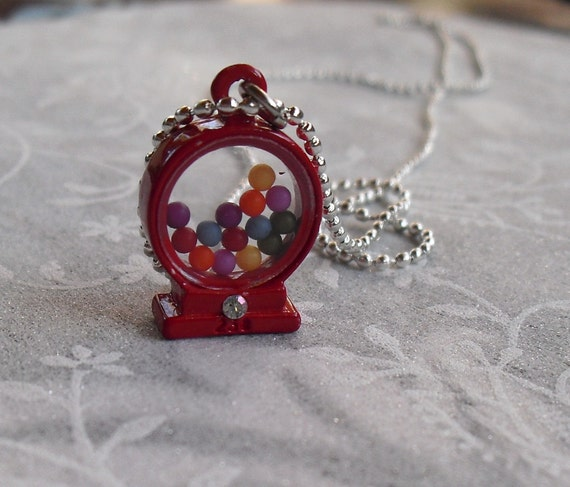 3-D Red Gumball Machine Charm Necklace with Ball Chain