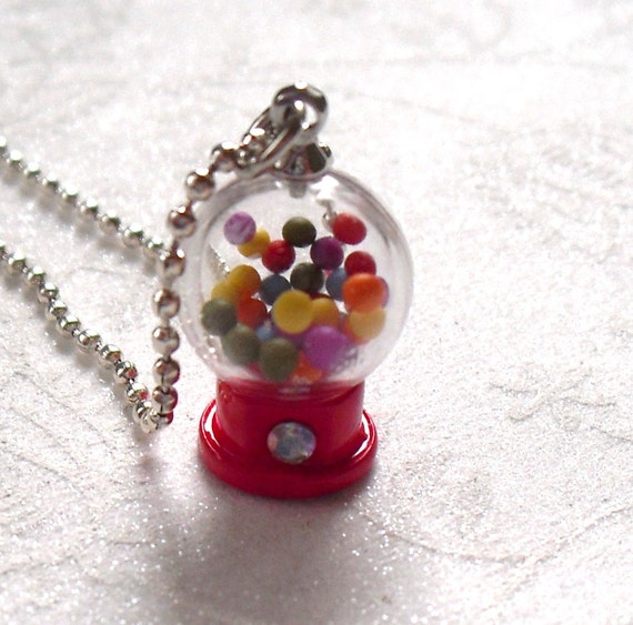 3-D Round Red Gumball Machine Charm Necklace with Ball Chain