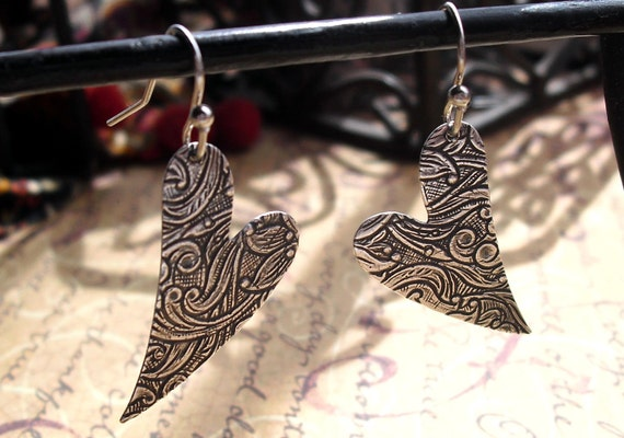 Agape Love, Right and Left Silver, Embossed, Stamped Heart Earrings